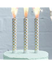 Ginger Ray Gold Foiled Polka Dot Birthday Ice Cake Fountain Sparklers Topper - 3 Pack - Pick & Mix