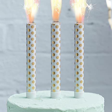 Ginger Ray Gold Foiled Polka Dot Birthday Ice Cake Fountain Sparklers Topper