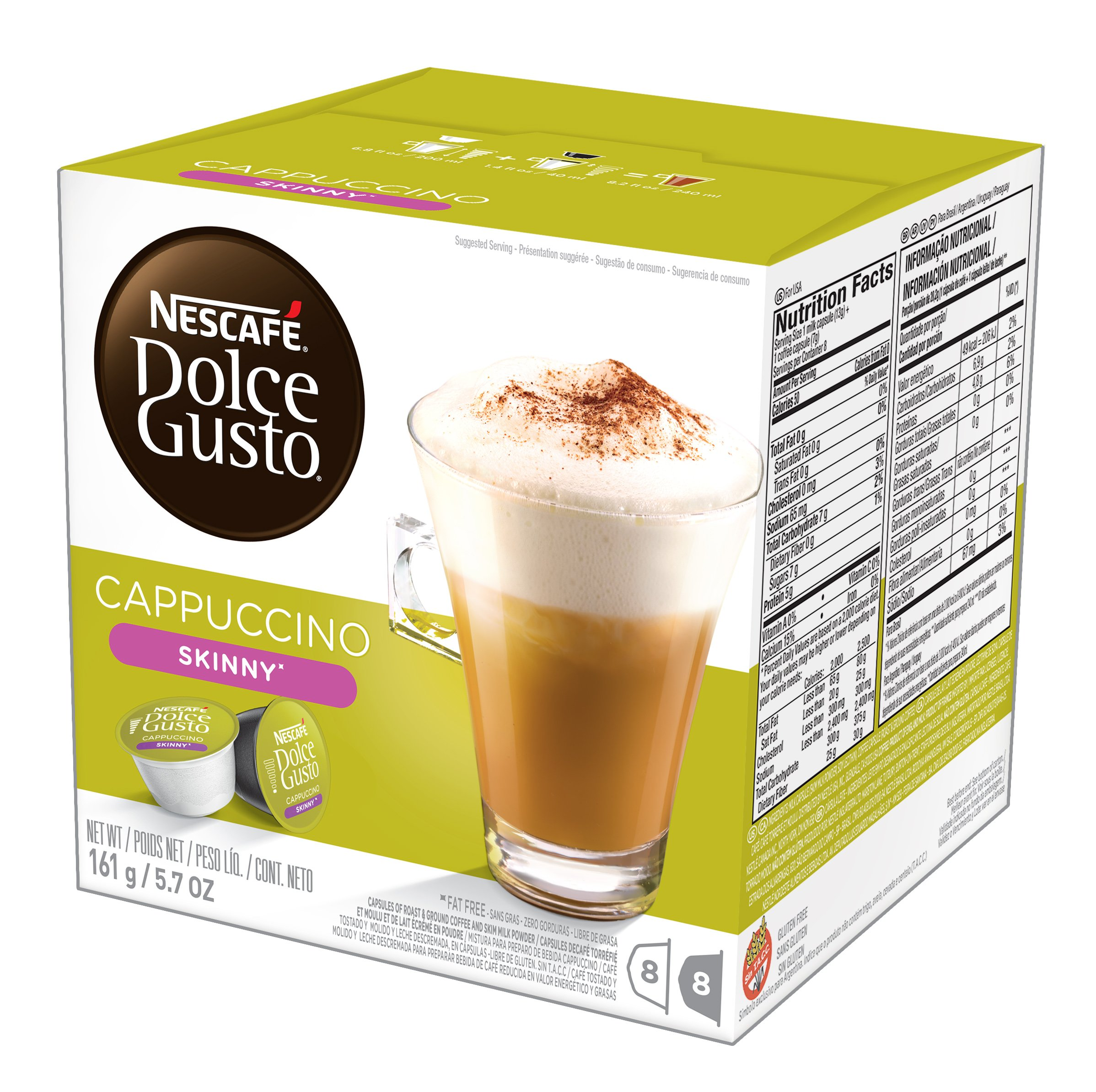NESCAFÉ Dolce Gusto Coffee Capsules, Skinny Cappuccino, 48 Single Serve Pods, (Makes