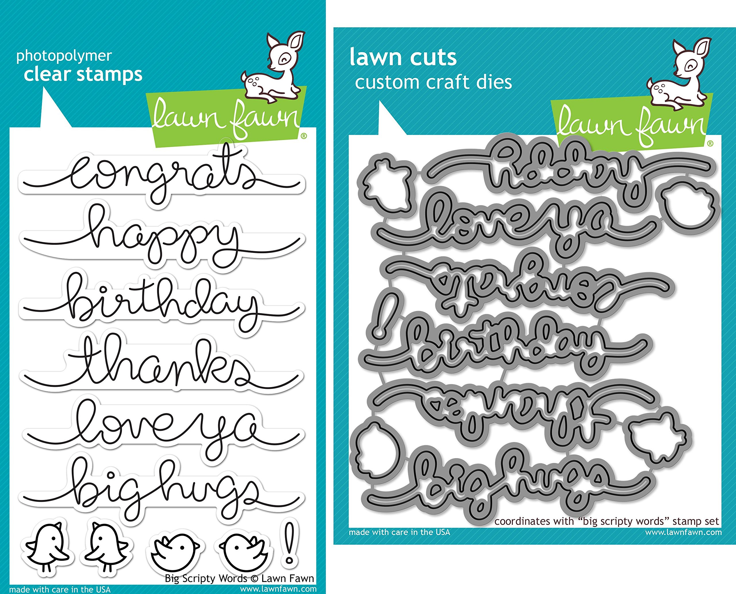 Lawn Fawn Big Scripty Words Stamp and Die Set - Two item Bundle