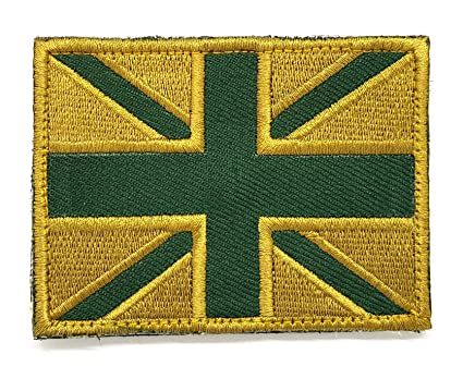 a43ee123 Sew-on & Velcro (Forces style) Embroidered Patch Shades of Olive  Green/Khaki Union Jack British Flag Badge: Amazon.co.uk: Kitchen & Home