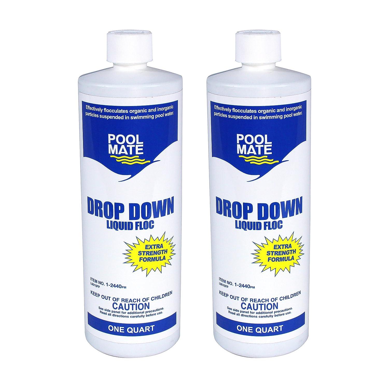 Pool Mate 1-2440-02 Drop Down Liquid Floc for Swimming Pools (2 Pack), 1  Quart