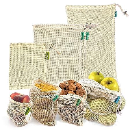 Bolsas reutilizables fruta. 4 bolsas reutilizables compra de malla de algodón para productos frescos. Lavables y transpirables para frutas, verduras, ...