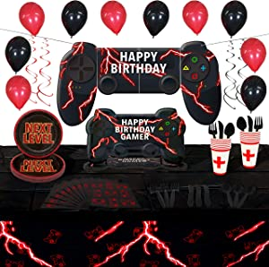 Video Game Party Supplies Set | Controller Shaped Plates | Serves 16 | 130+ Pieces | Video Game Decorations and Tableware | Large Video Game Happy Birthday Banner | Disposable Tableware