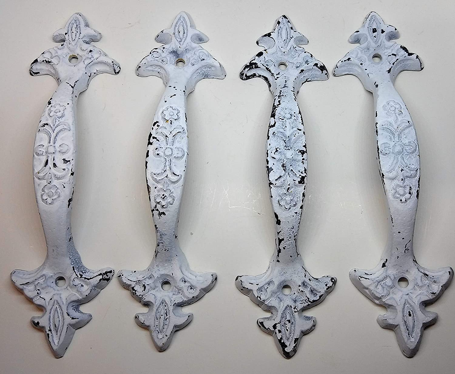 Set of 4 Cast Iron Large & Fancy Antique Replica Drawer Pull/Barn Gate Handle Shabby Chic Vintage Crafts and Decor (Very Shabby Warn White Finish) | 6.5 x 1.75 x 1.00-Inches CI214