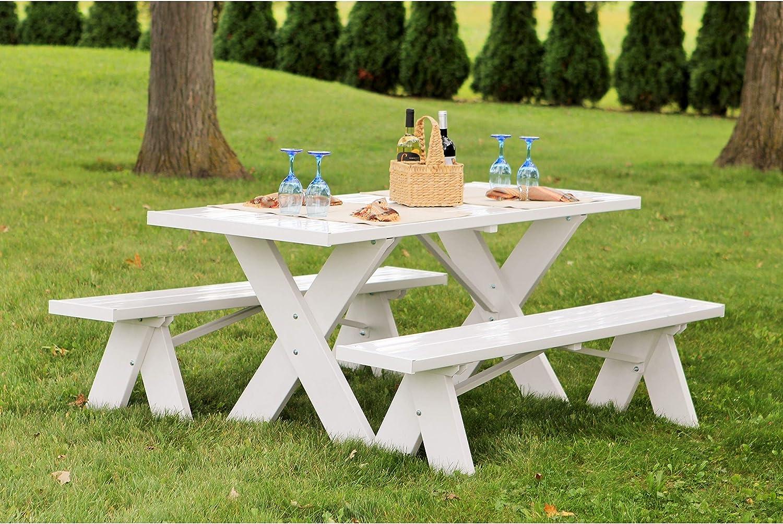 Amazon Com Dura Trel Vinyl Picnic Table W Unattached Benches Garden Outdoor