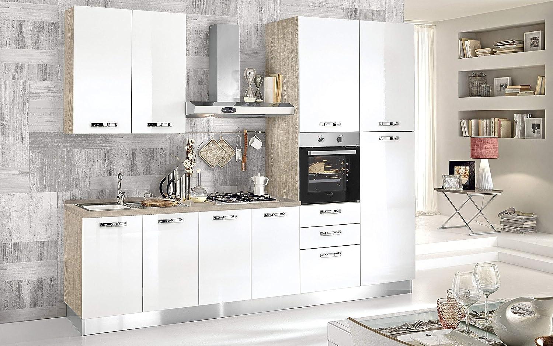 Cocina completa - Lado DX cm. 300 x 60 x 216h - Incluye: campana extractora, horno ventilado, lavabo, frigorífico, heladera, placa de cocción a gas con 4 fuegos, n.º 9 y 3 cajones.: Amazon.es: Hogar