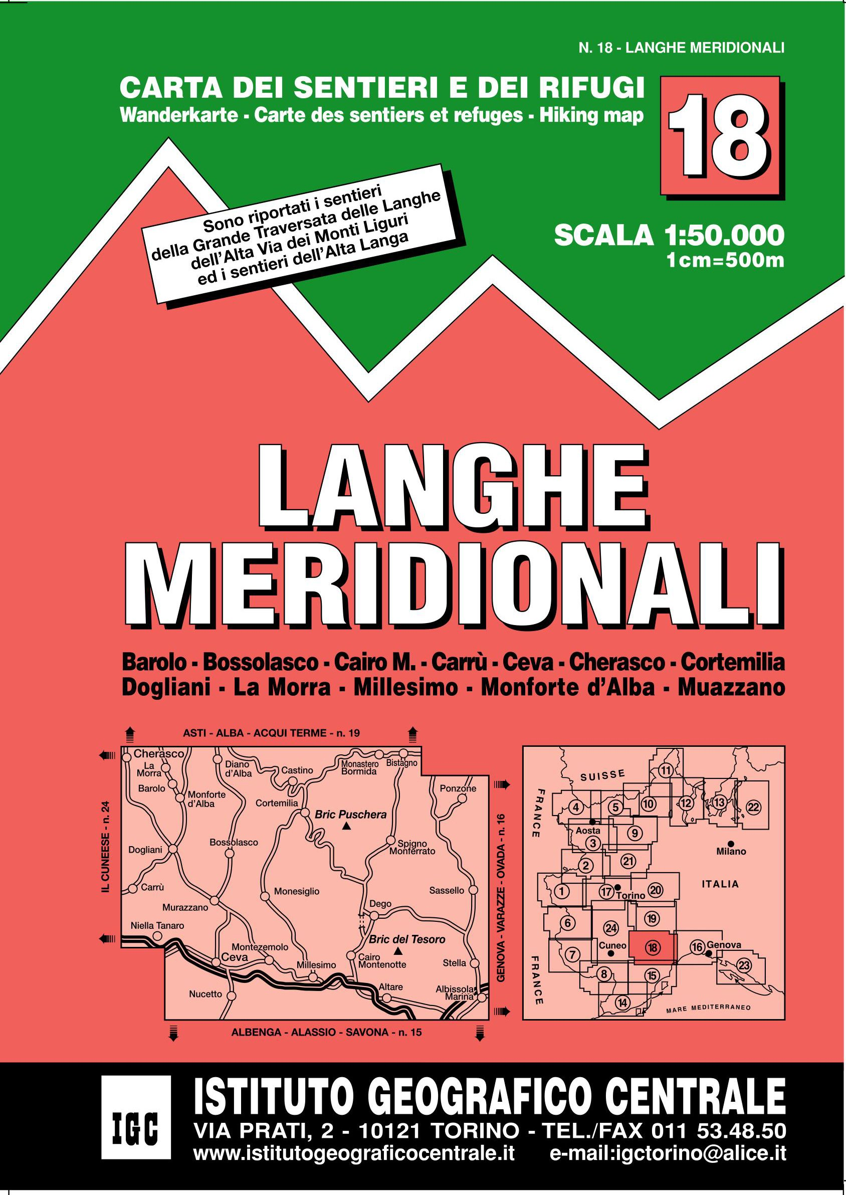 IGC Italien 1 : 50 000 Wanderkarte 18 Langhe Meridionali