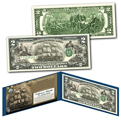 CONFEDERATE SHIPS Banknote of The American Civil War Collectible Art Two-Dollar Bill: Everything Else