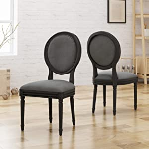 Christopher Knight Home Babbs Traditional Fabric Dining Chairs, Dark Gray, Grey