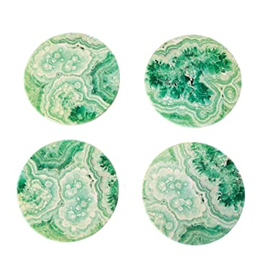 CoasterStone NC05 Absorbent Coasters, Teal Agate, Set of 4, 4-1/4 Inch, 4-1/4 , Multicolor