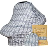 Baby Car Seat & Nursing Cover & Drawstring Carry Bag in Gray Feather Design Shower Gift Breathable Stretchy Universal 4 in 1 Multi-Use Infant Carseat Canopy Covers Shopping Cart High Chair Stroller