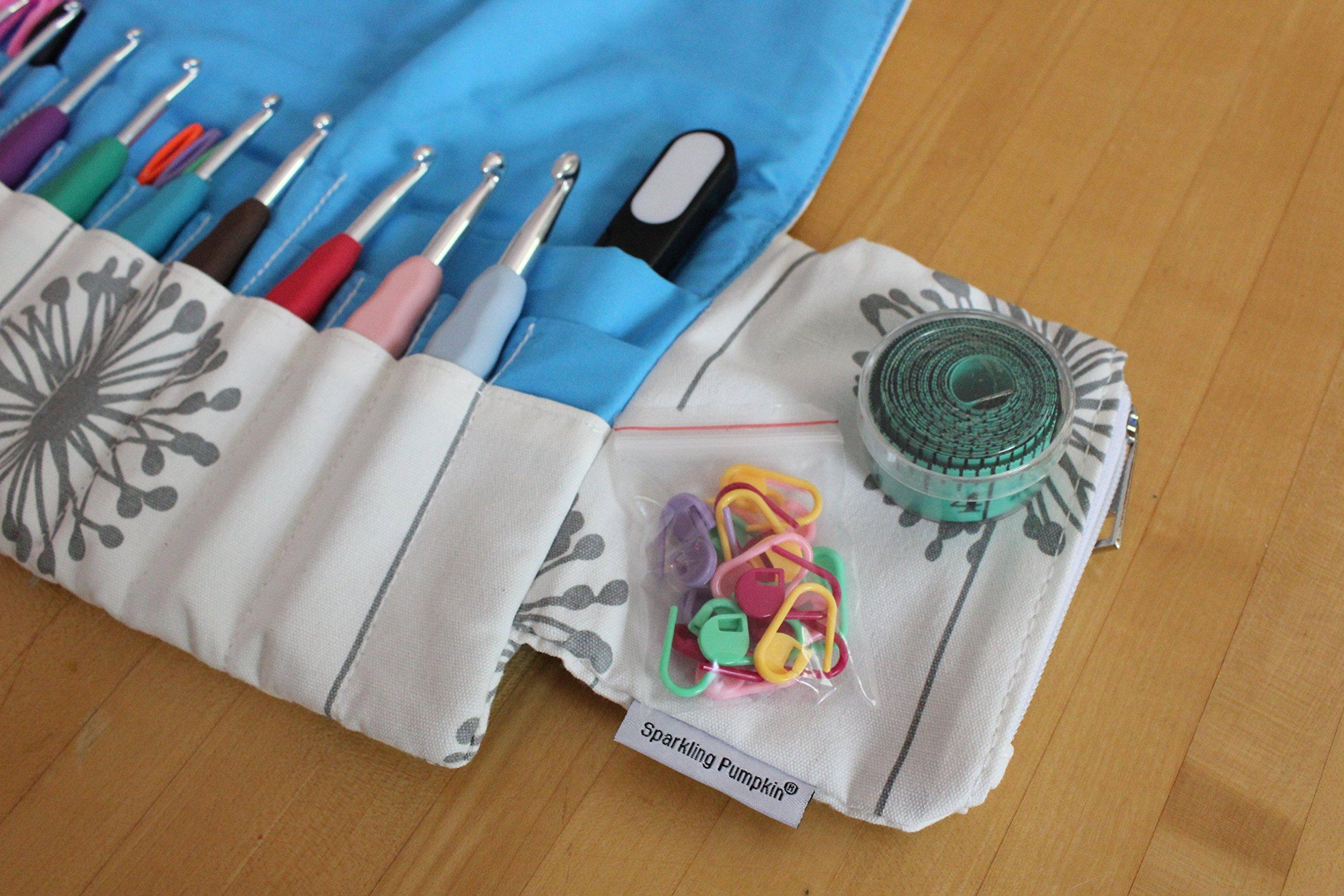 Sparkling Pumpkin Crochet Set - Ergonomic Crochet Hook Set with Multiple Accessories - Blue Dandelion Hook Case, Yarn Needles, Stitch Markers, Measuring Tape & More! (38 Piece Set, Dandelion)