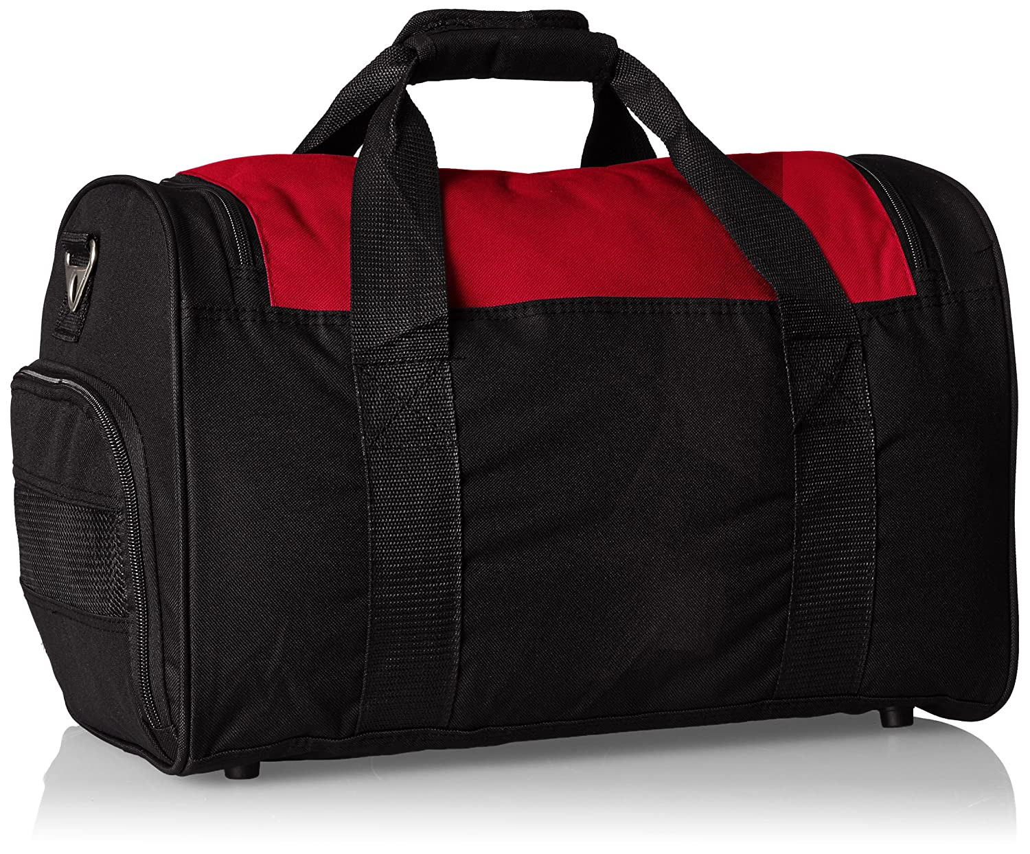 This is an image of a black and red gym bag