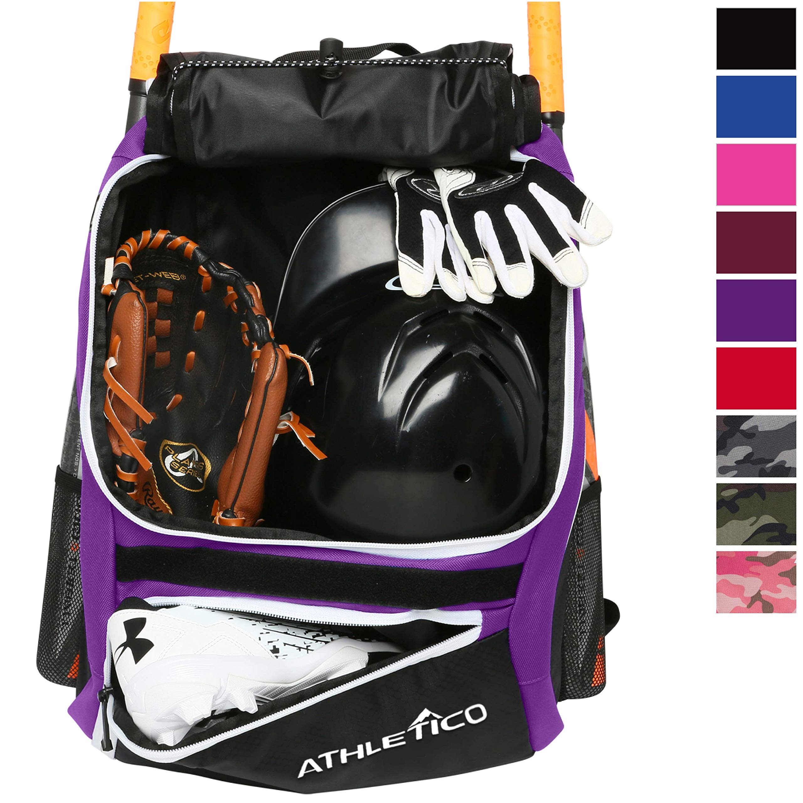 Athletico Baseball Bat Bag - Backpack for Baseball, T-Ball & Softball Equipment & Gear for Youth and Adults | Holds Bat, Helmet, Glove, Shoes |Shoe Compartment & Fence Hook (Purple) by Athletico