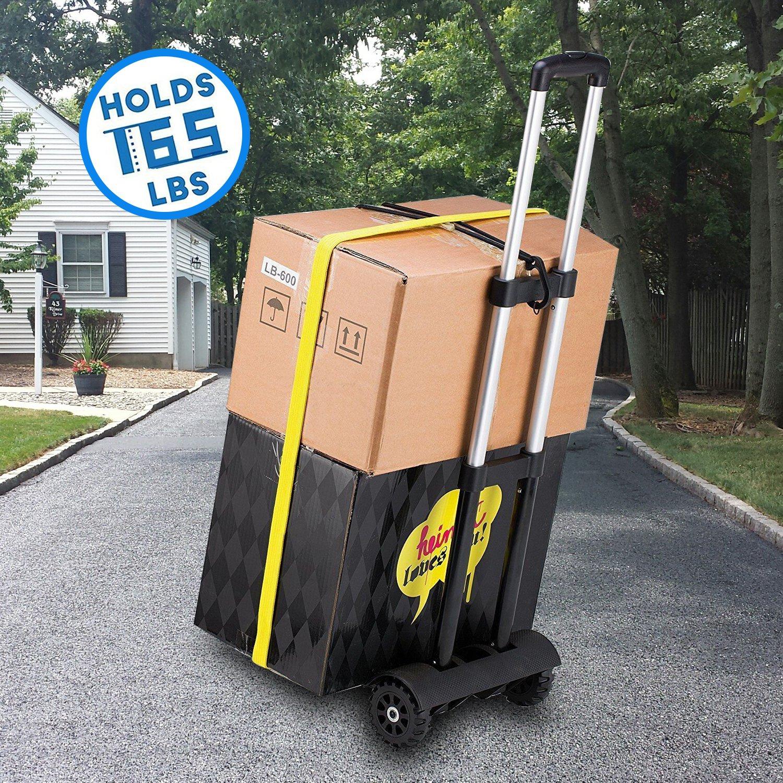 Carretilla plegable Wilbest, Carritos porta equipajes con 4 ruedas Carga máxima 75 kg/165 lbs - Después de plegar se puede poner en la mochila - Negro: ...