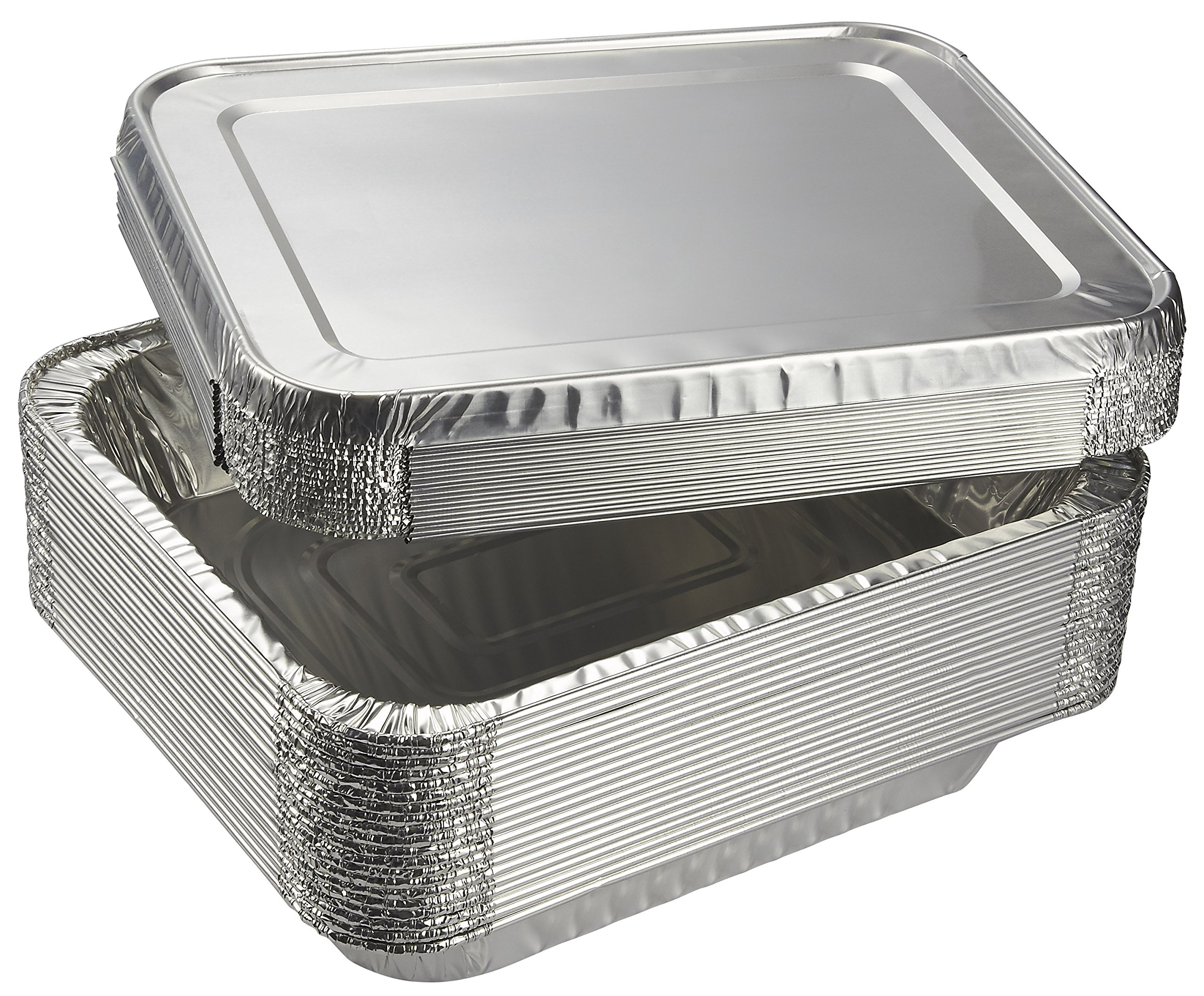 Aluminum Foil Pans - 20-Piece Half-Size Deep Disposable Steam Table Pans with Lids for Baking, Roasting, Broiling, Cooking, 12.75 x 2.25 x 10.25 inches