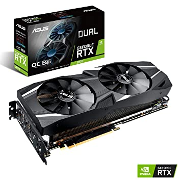 ASUS GeForce RTX 2070 Overclocked 8G GDDR6 Dual-Fan Edition VR Ready HDMI  DP 1 4 USB Type-C Gaming Graphics Card (DUAL-RTX-2070-O8G)