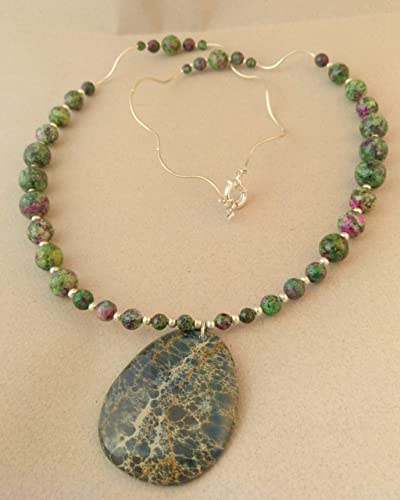 ab54d1a2a23c collar de agata facetada y colgante de jaspe verde  Amazon.es  Handmade