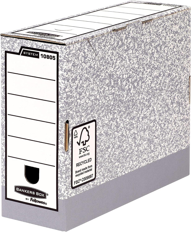 Fellowes Bankers Box 108051, Cajas de Archivos Automáticos, A4, Lomo 100 mm, Gris Jaspeado (10 unidades): Amazon.es: Oficina y papelería