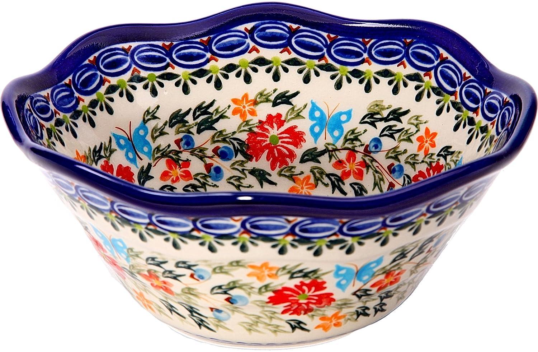 3 1//4 Cups 0423-238 0423//238 Bowl Viki 1 Royal Blue Patterns with Red Cornflower and Blue Butterflies Motif Lidia/'s Polish Pottery Inc Polish Pottery Ceramika Boleslawiec