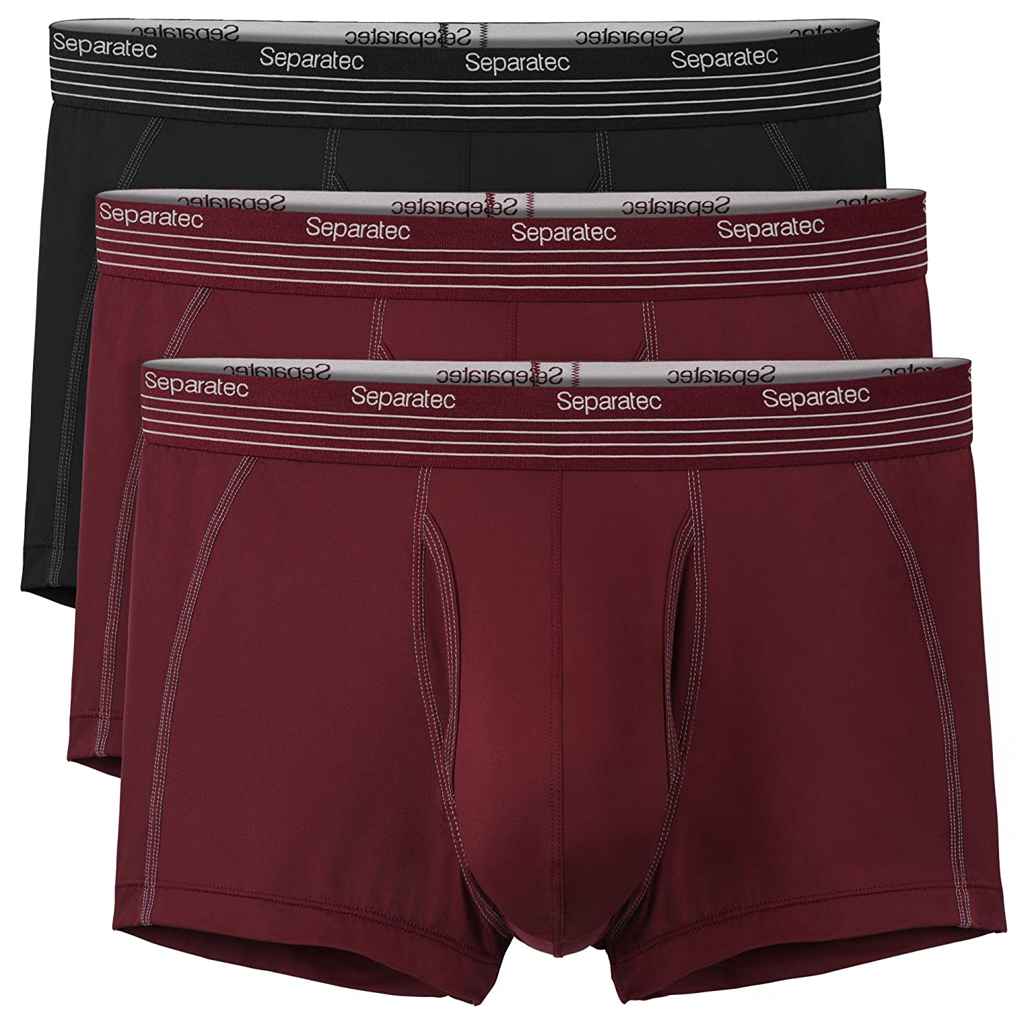 Separatec 3 Pack Mens Boxer Shorts Fast Dry Polyamide Trunks with Separate Pouches and Fly, Fitted Boxers Briefs
