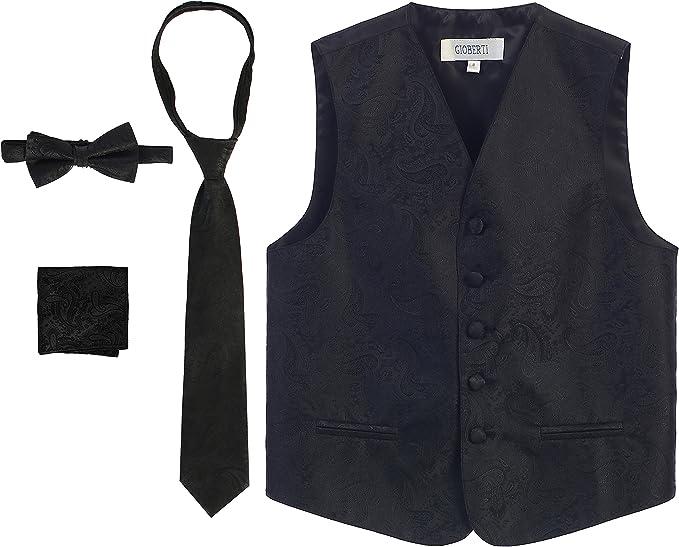 Vest Boys White Paisley Full Back Neck Tie Ring Bearer Wedding Party Tuxedo Fun