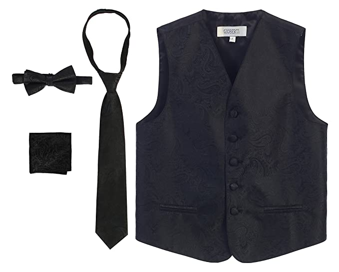 10018c692f20e Amazon.com: Gioberti Boy's 4 Piece Formal Paisley Tuxedo Vest ...