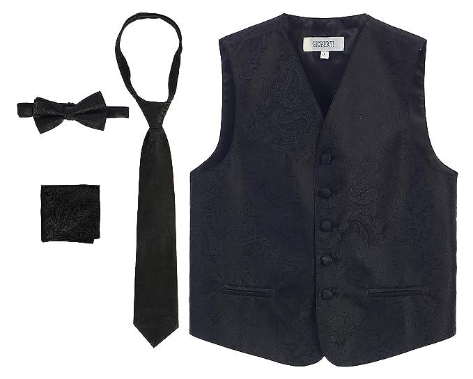 77b827b238c8a Amazon.com: Gioberti Boy's 4 Piece Formal Paisley Tuxedo Vest ...