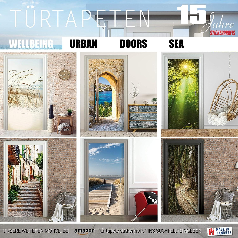 Türtapete Tor Türposter selbstklebend Holz Eisen Verzierung Glas Eingang