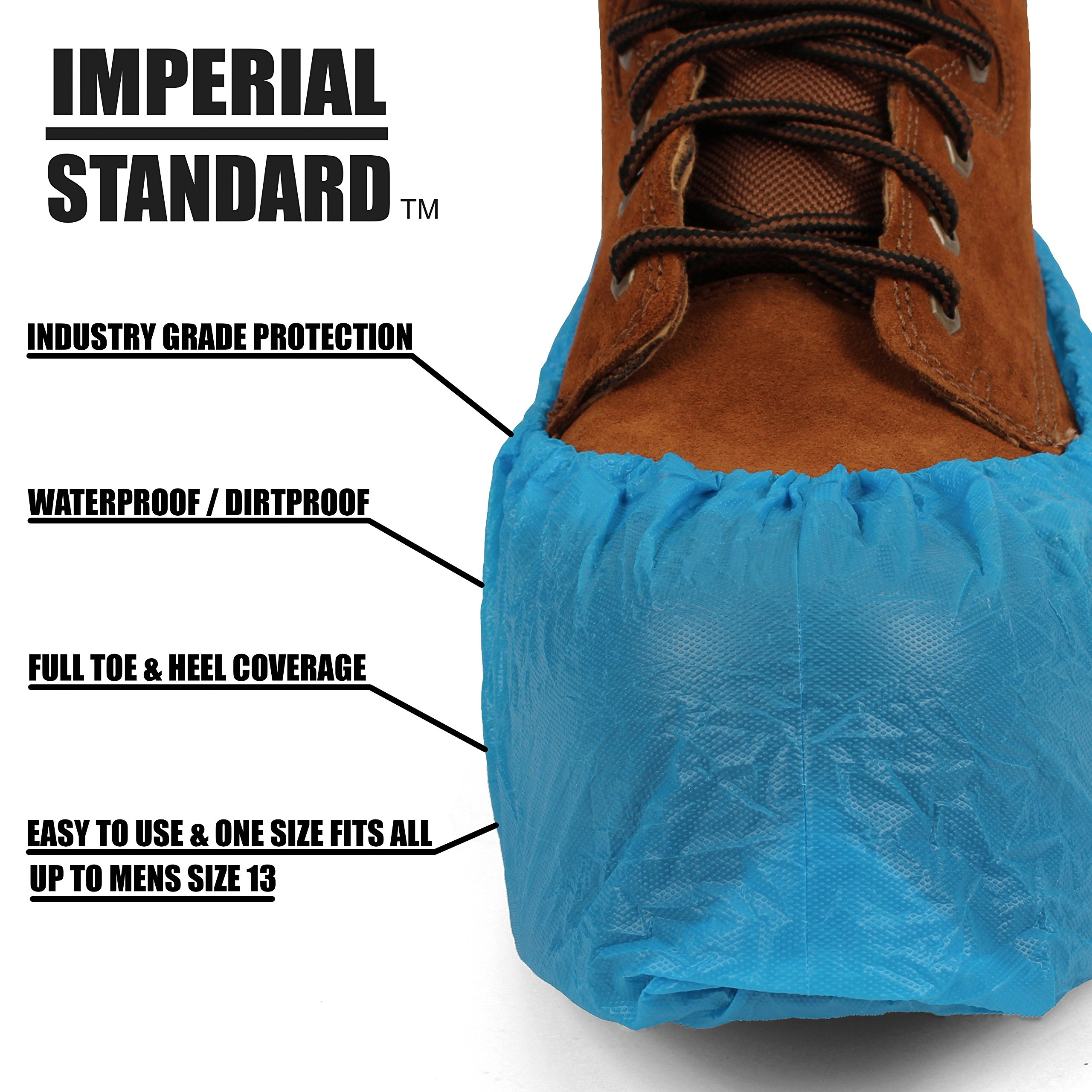 Waterproof Boot Covers for Professionals - XL Disposable Shoe Covers - Non-Slip Waterproof Shoe Protectors - Fits up to Size 13 Work Boot and Size 14 Shoe - (100 pack) by Imperial Standard (Image #3)