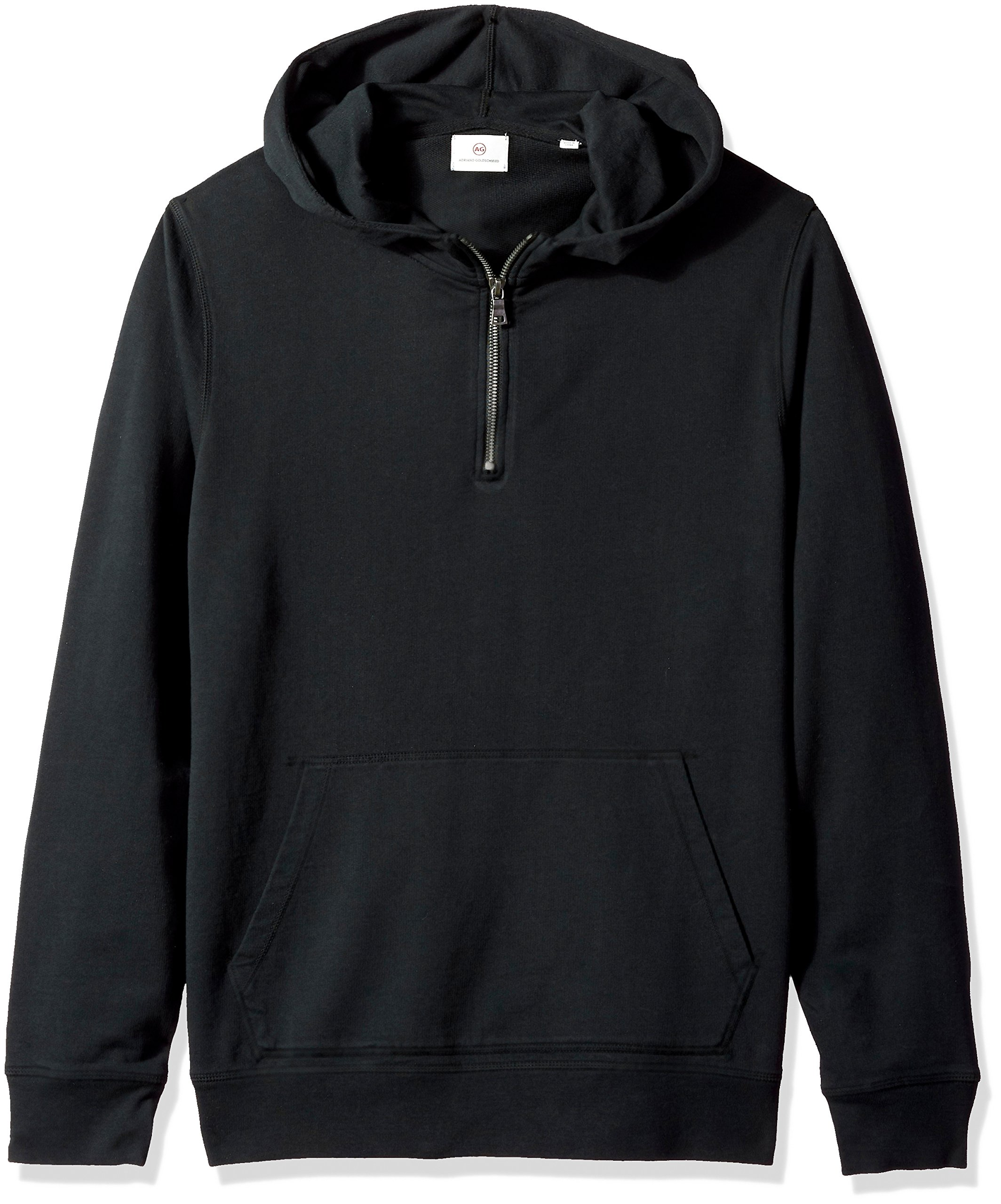 AG Adriano Goldschmied Men's Lyle Quarter Zip Pullover Hoodie, True Black XL