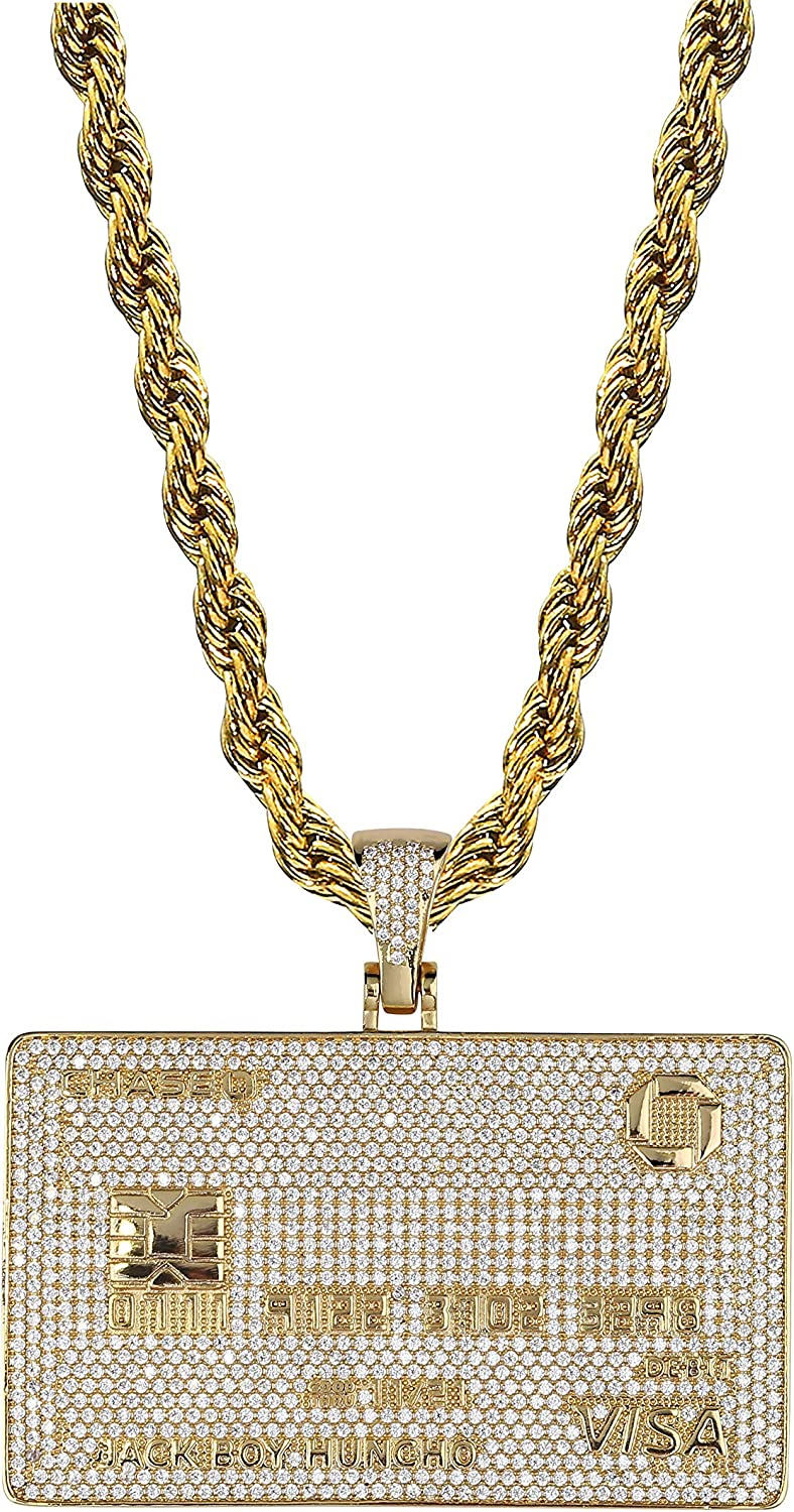 TOPGRILLZ 18K Gold Plated Custom Iced Out Credit V Card Pendant Necklace Personalized Name Chain for Men Women Charm Gifts