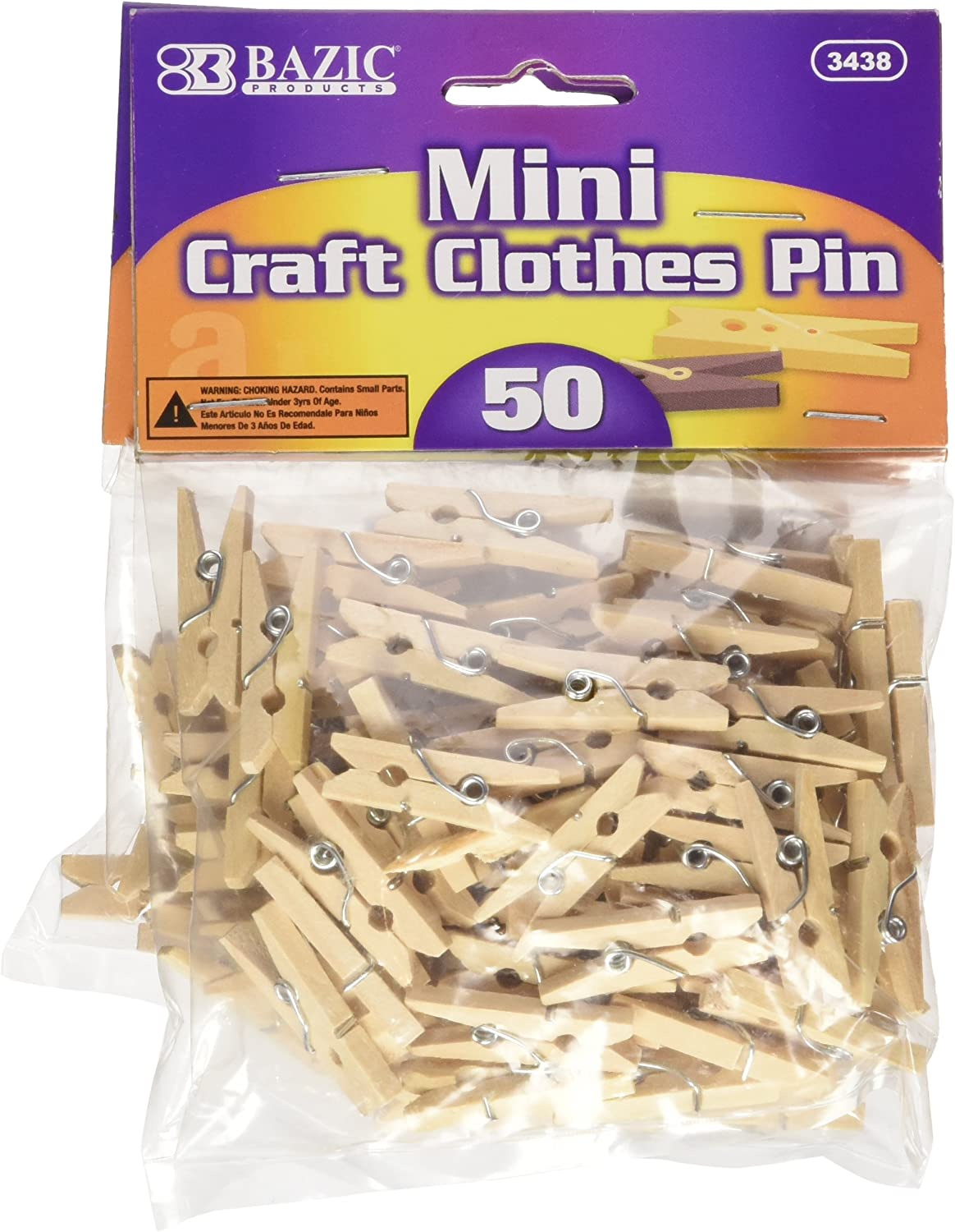 50 Per Pack 2 Packs Mini Colored Craft Clothespin