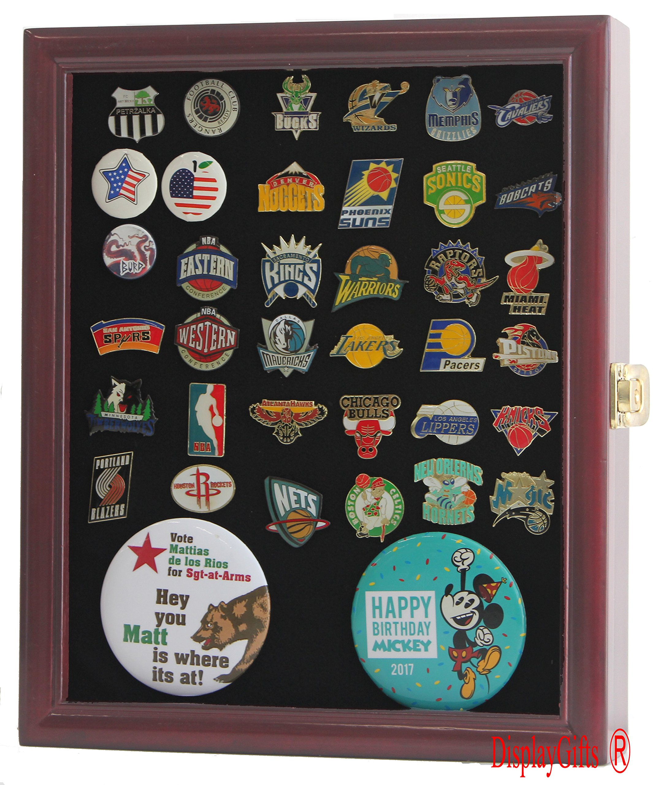Lockable, Pin/Medal Display Case Shadow Box, Glass Door, Cherry Finish (PC02-CH) by DisplayGifts