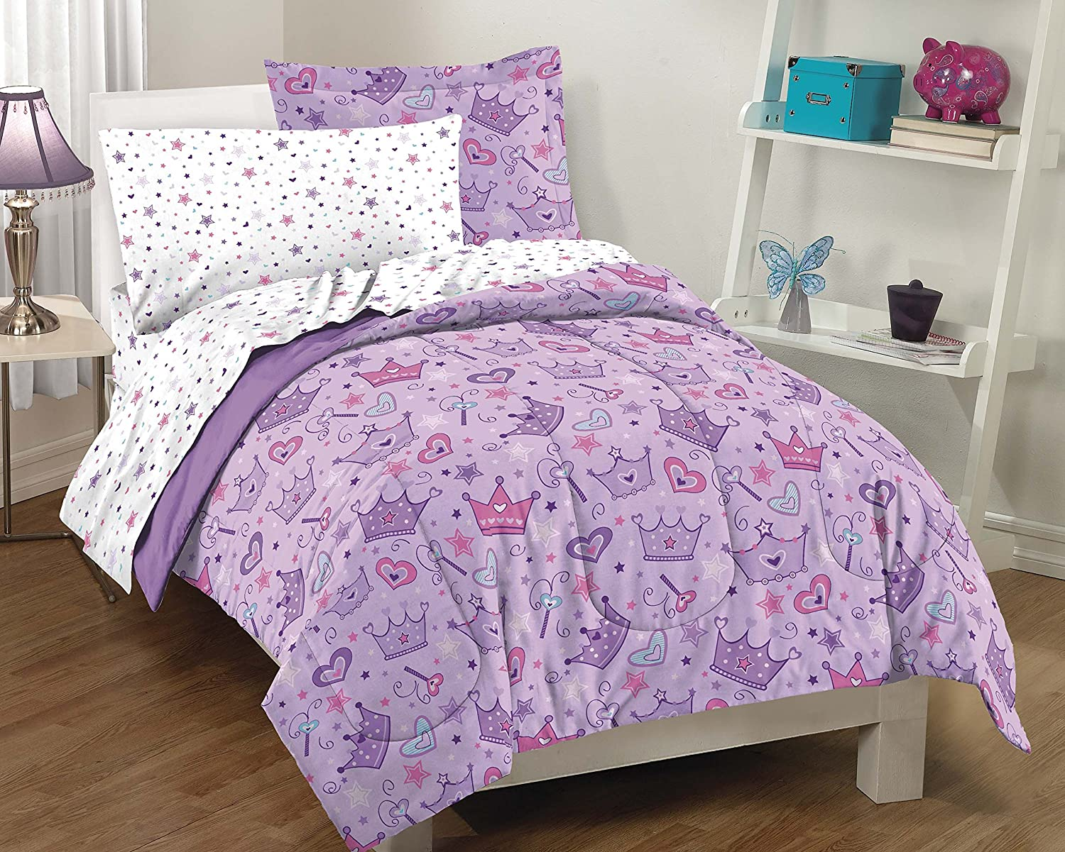 Purple Princess Hearts And Crowns Girls Comforter Set, Multi, Twin