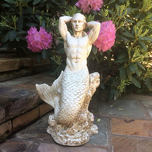 21 in. Sexy Triton Merman Male Mermaid on Nautical Rock Antique White Beach and Pool Statue