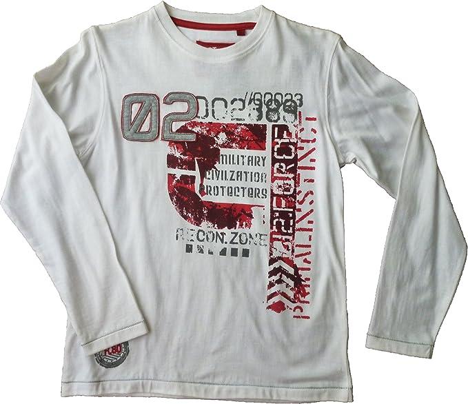 Opt - Camisetas Manga Larga - para niño Blanco Rojo 10 años ...