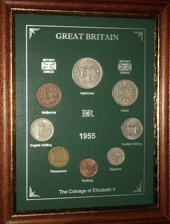 Framed 1955 GB Great Britain British Coin Birth Year Vintage Retro Gift Set (63rd Birthday Present or Wedding Anniversary) historicgiftsets