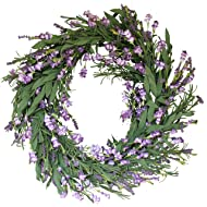 The Wreath Depot Overbrook Silk Lavender Spring Door Wreath 22 Inch, White Storage Gift Box Included