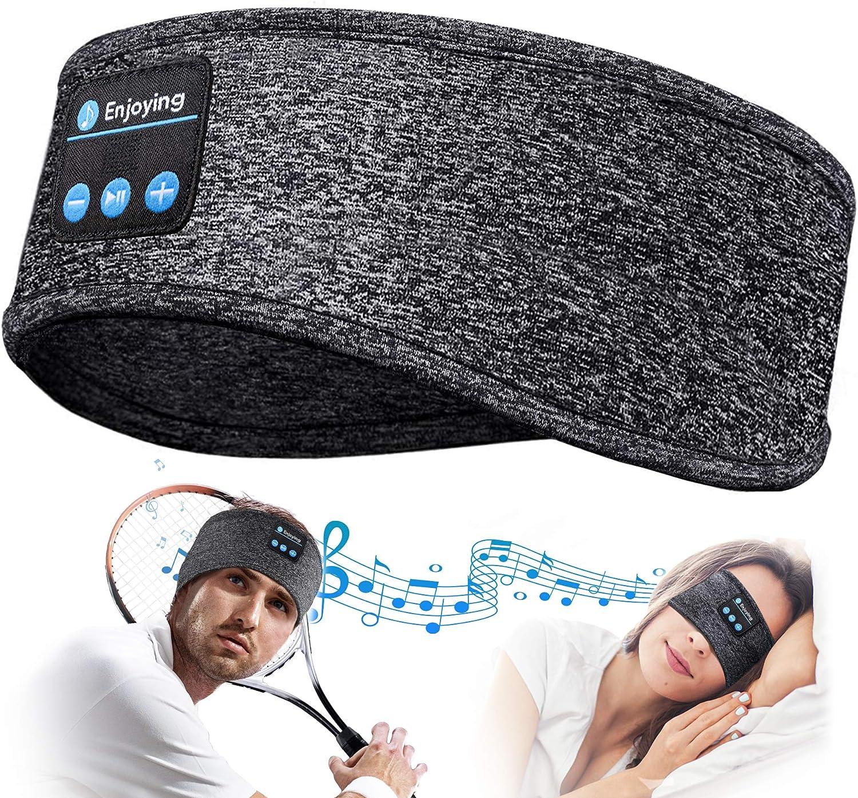 Auriculares para Dormir Regalos Originales para Hombre Mujer - Regalos Originales Auriculares Dormir Deportes Diadema Bluetooth, Suave Orejeras para Dormir con Ultrafinos HD Estéreo Altavoces (Gray)
