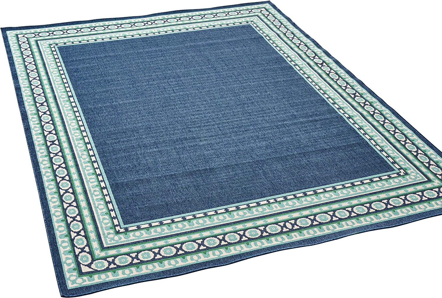 Christopher Knight Home Darleen Outdoor Border 5 x 8 Area Rug, Navy/Green