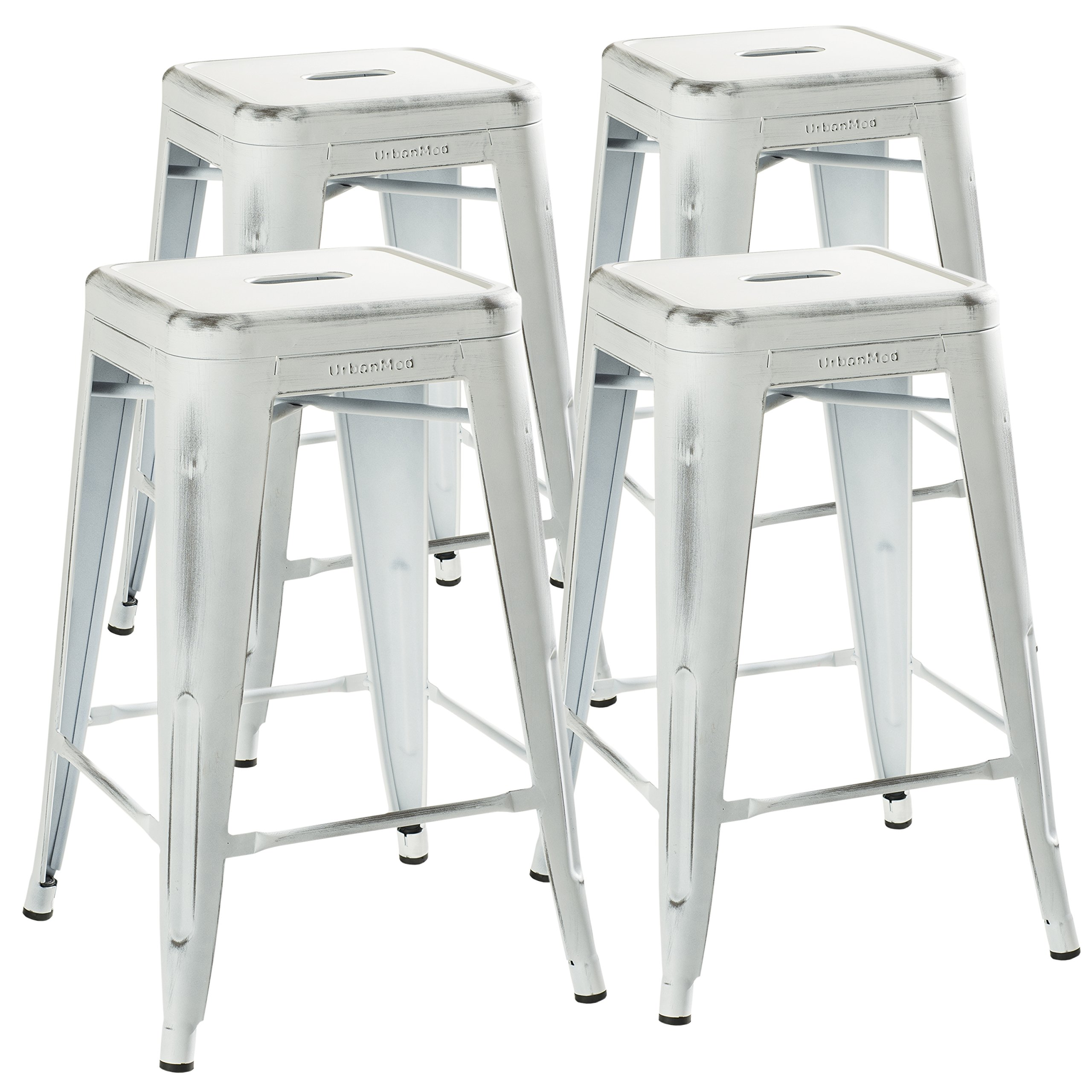 UrbanMod 24'' Stool Set of 4 by Distressed White Rustic Bar Stools -Counter Height Stools 330lb Capacity Metal Stool Chair - Stackable Indoor/Outdoor Bar Stools for Kitchen Counter and Island by UrbanMod