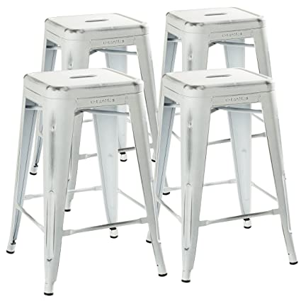 Pleasant Urbanmod 24 Stool Set Of 4 By Distressed White Rustic Bar Stools Counter Height Stools 330Lb Capacity Metal Stool Chair Stackable Indoor Outdoor Machost Co Dining Chair Design Ideas Machostcouk