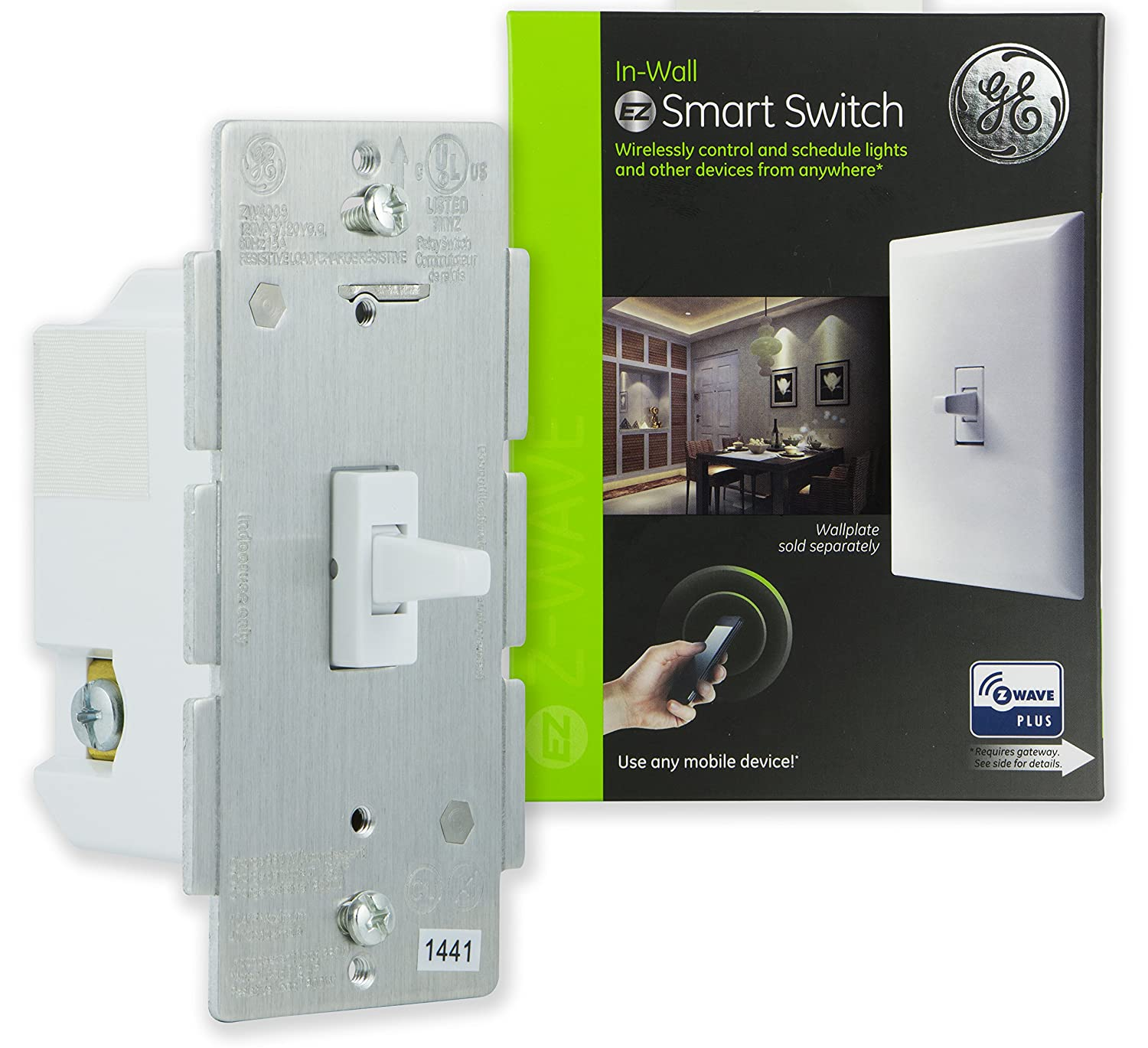 GE Enbrighten Z-Wave Plus Smart Toggle Light Switch, On/Off Control, in-Wall, Built-in Repeater/Range Extender, Zwave Hub Required, Works with SmartThings Wink and Alexa, 14292