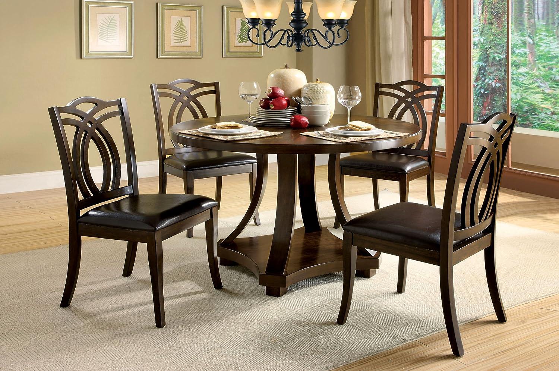 Amazon.com - Furniture of America Fluxeur 5-Piece Round Dining Table Set Dark Walnut - Table \u0026 Chair Sets & Amazon.com - Furniture of America Fluxeur 5-Piece Round Dining Table ...