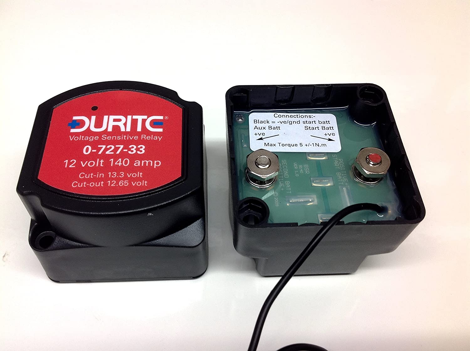 12V 140amp Durite 0-727-33 voltage sensitive/intelligent Split Charge Relay:  Amazon.co.uk: Car & Motorbike