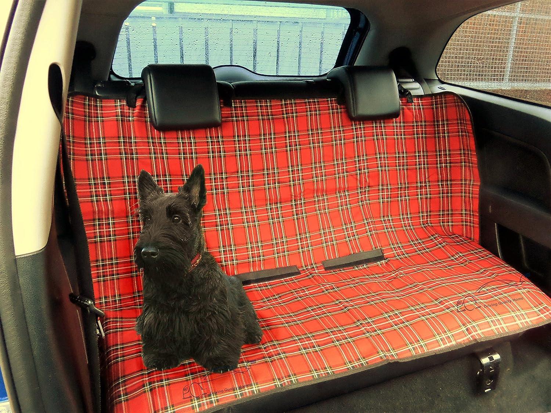 XtremeAuto- Housse de protection 2-en-1 imperméable pour banquette arrière, tissu écossais rouge, à l'épreuve des chiens et des chats. tissu écossais rouge à l'épreuve des chiens et des chats.