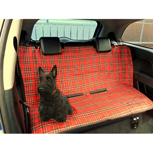 XtremeAuto® Protective Dog/Pet Cover Universal Waterproof 2 in 1 Boot Liner Rear Car Back Seat, RED TARTAN/PLAI