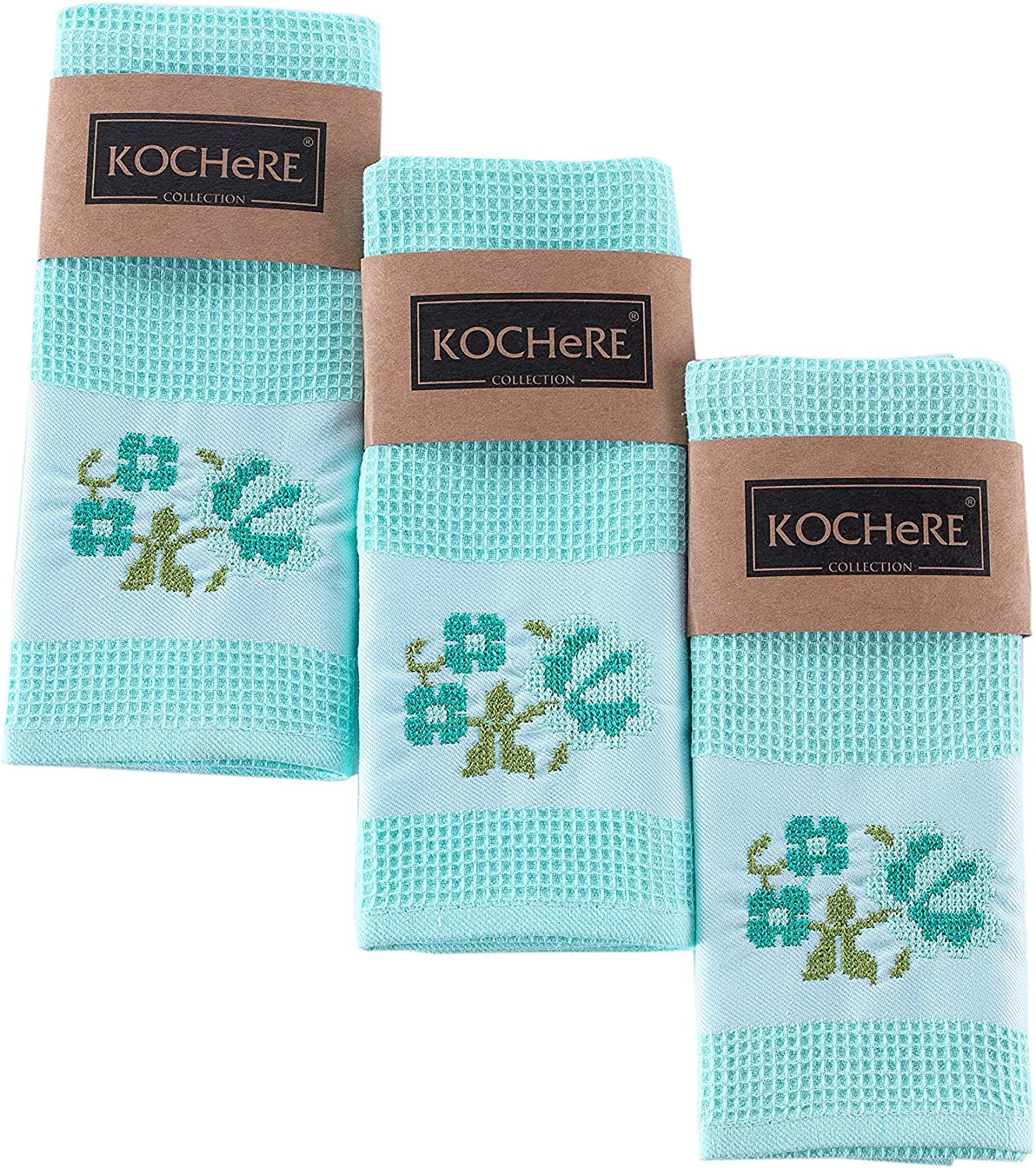"Pasam Home Turkish Kitchen Towels and Hand Towel Superior Absorbency and Quick Drying 18"" x 27"" 3 Piece Set 100% Densely Woven Cotton Yarn Pool Pique Embroidered Tea Towels (Turquoise)"
